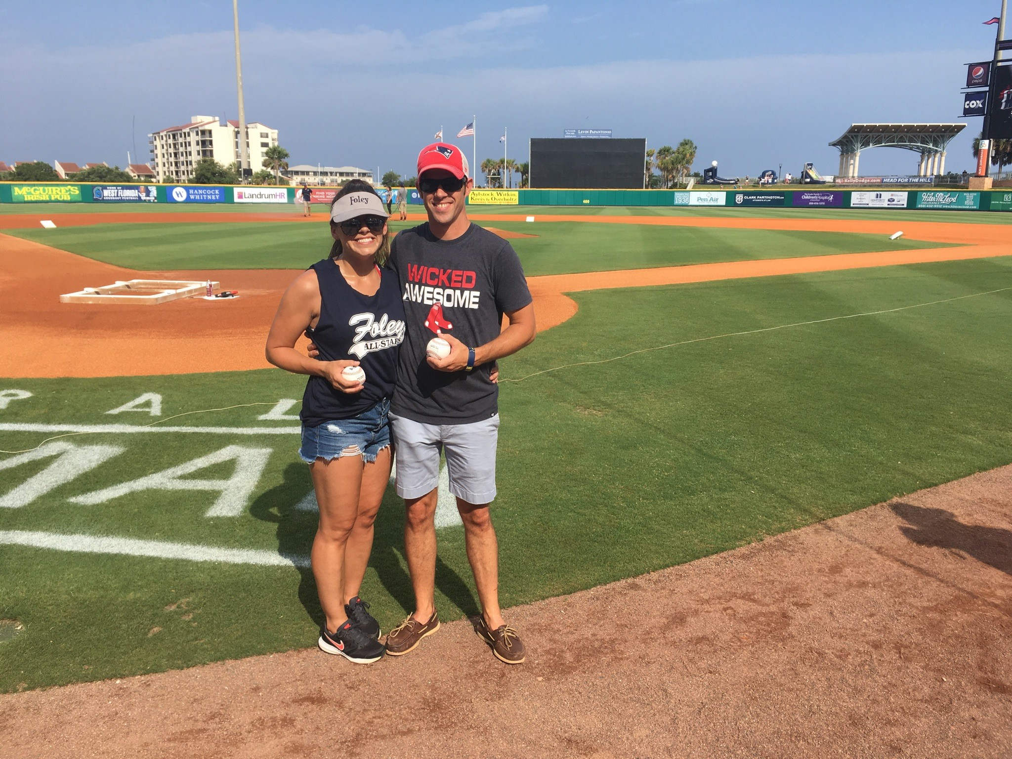 Athletic Assistant and 12U Softball Coach Billy Zantop (right) was interviewed on the field and represented the City of Foley well during this honorary first pitch. Also in picture with Billy Zantop is his assistant coach and team sponsor, Shirley Sullivan.