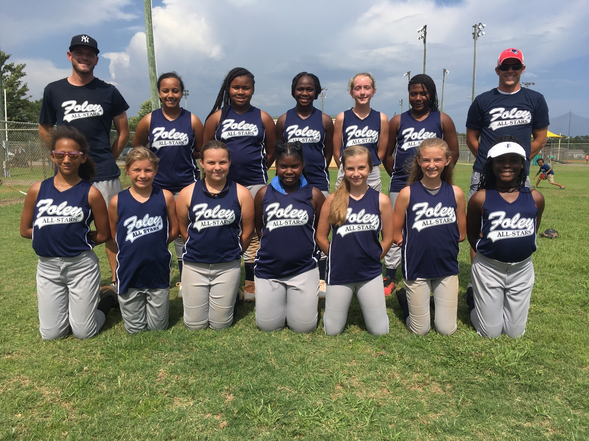 12U Age Group - Head Coach: Billy Zantop. Assistants: Shirley Sullivan and Rob Peddrick. Players Standing Left to Right: Jaelyn Shoots, Christina Bragg, Tynashia Gray, Heidi Tucker, and Destiny Holmes.