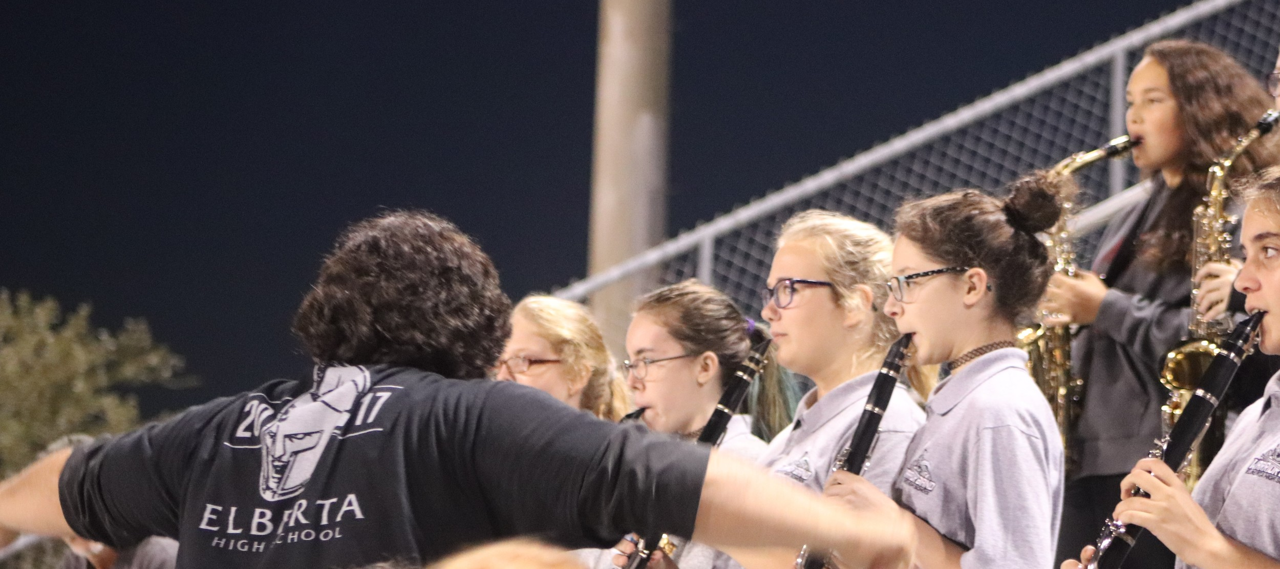 The Elberta High School Band cheers on their team from the stands.