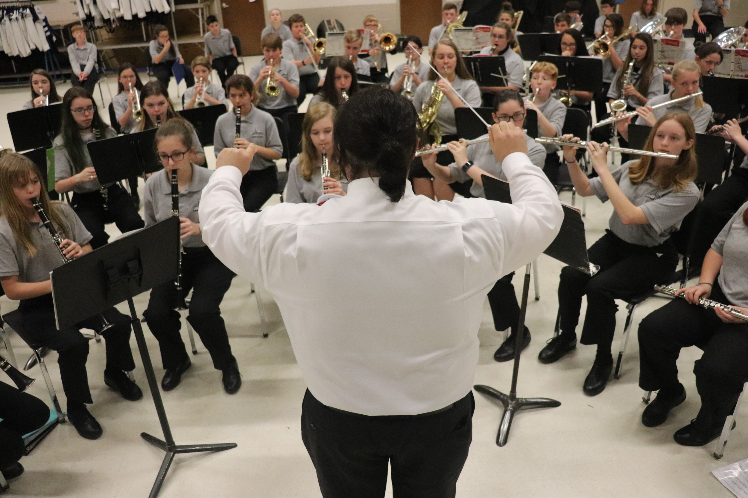 The Elberta High School Band warms up before the Alabama Bandmasters Association Music Performance Assessment in  Mobile.