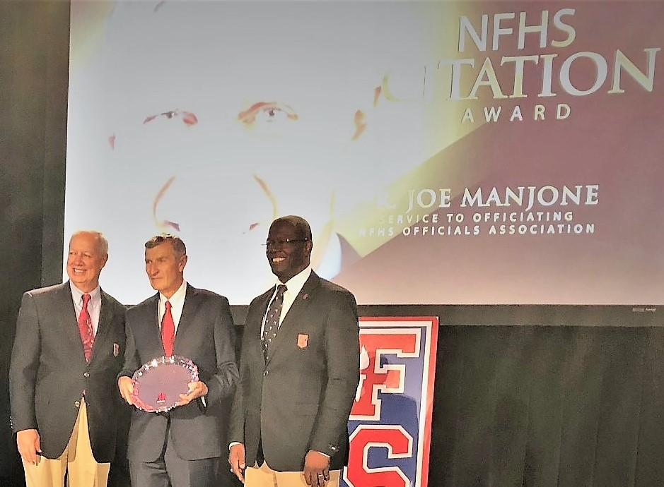 Joe Manjone with NFHS Executive Director Bob Gardner (l) and NFHS Board President Jerome Singleton.