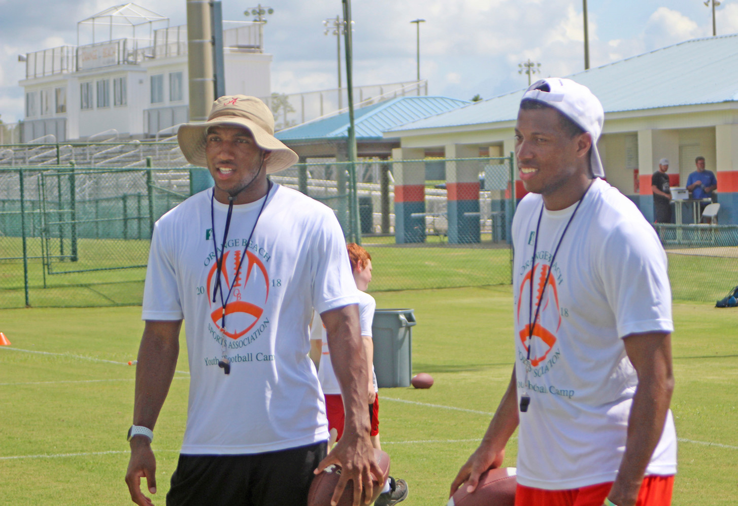 Camp instructors Marlon Humphrey, left and brother Maudrecus Humphrey at Orange Beach.