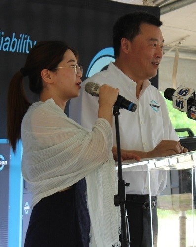 Kevin Cao, president of Kaishan Group, speaks through an interpreter.