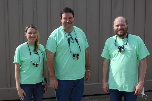 Dr. Jason Northcutt, center, with partners Dr. Jeremy Hardy and Dr. Lindsey Taylor at Robertsdale Dental Care.