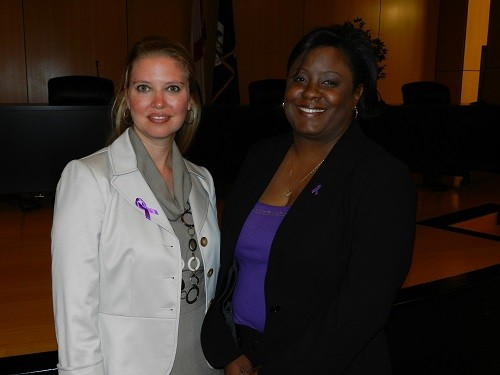 Rhyon Ervin and Joanne Shiels Barfield when Barfield was named executive director of The Lighthouse in 2011.
