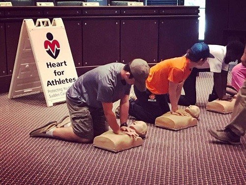 One session focused on learning CPR and each participant took part in the hands-on class.