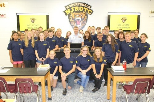 Petty Officer Erin Charles Pate and cadets from Robertsdale High School and Elberta High School combined to form one unit at RHS.