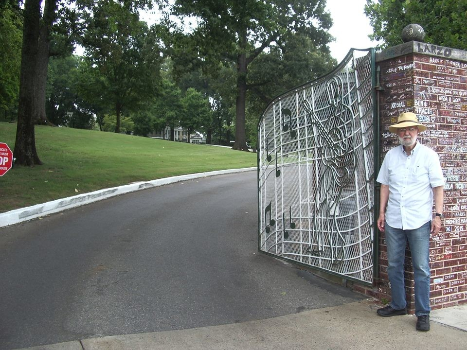 Author Mike Burrell at the gates of Graceland.