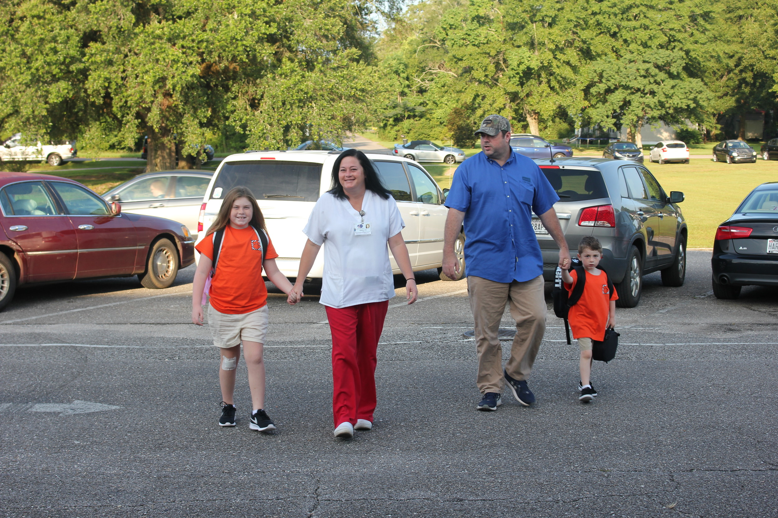 The Cox family arrives at BMES for the first day of school.