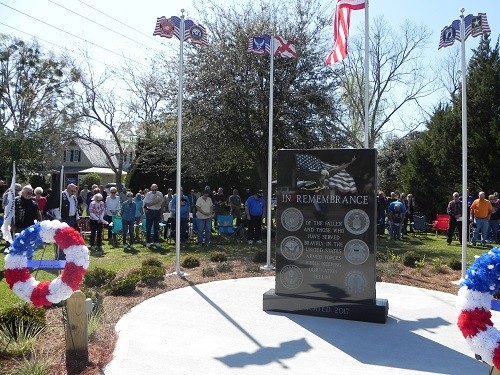 The Silverhill Veterans War Memorial was dedicated in March of 2017 at Paul Anderson Park on the corner of Alabama 104 and County Road 55, across from Silverhill Town Hall.