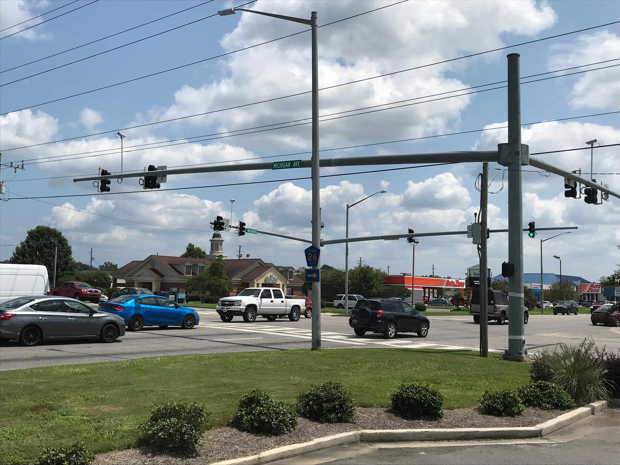 The intersection at Highway 59 and Michigan Avenue, one of the proposed intersections for the implementation of the new traffic signal preemption system from the Foley Fire Department.
