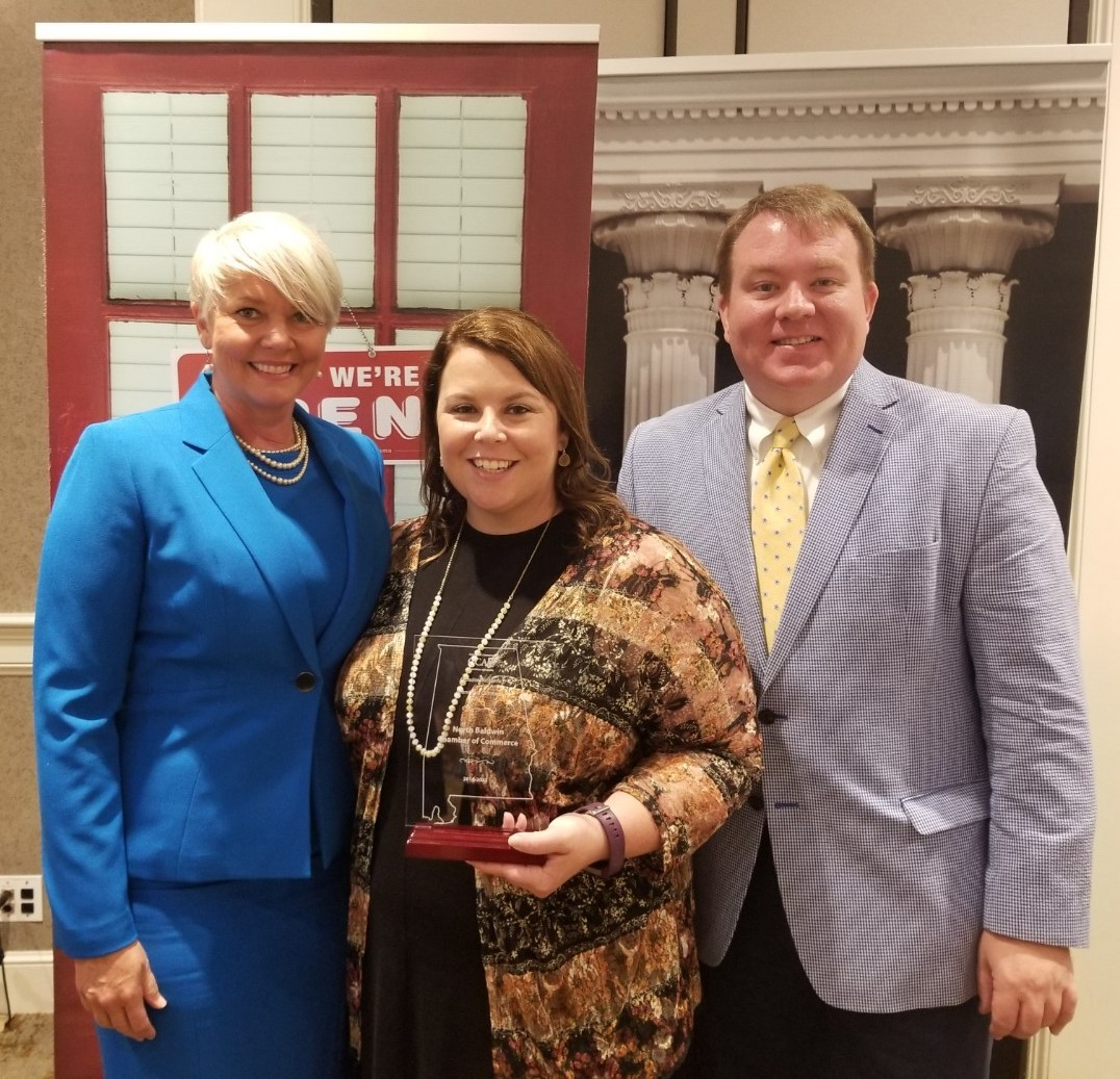 L to R: Heather Brothers New, President of The Chamber, Gadsden and Etowah County and the CCAA's 2018 Chairwoman of the Board of Directors; Ashley Jones Davis, Executive Director of the North Baldwin Chamber of Commerce; and Jeremy Arthur, President & CEO of the Chamber of Commerce Association of Alabama.