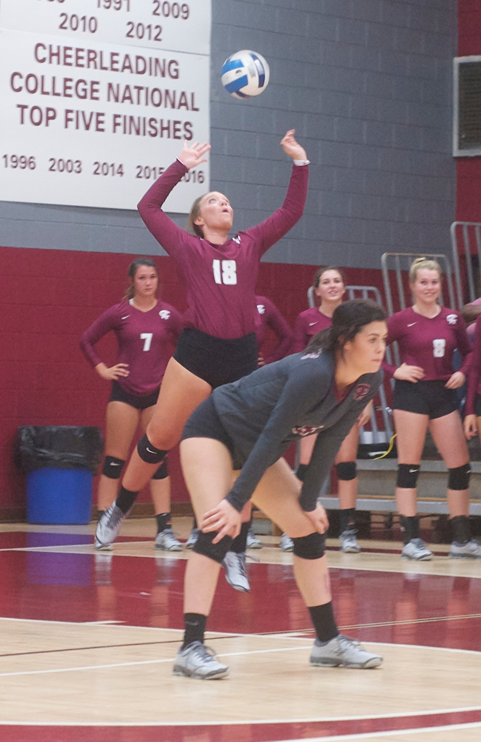 Hannah Donoghue opens with a jump serve at Jack Robertson Arena.