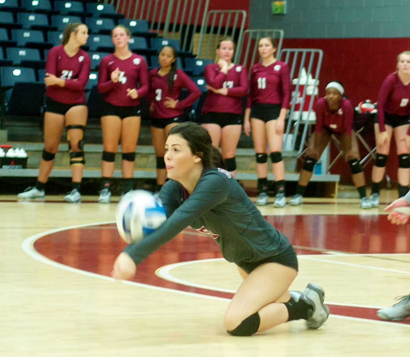 Defensive specialist Renea Bertheaud keeps the ball in play for CACC-Coastal.