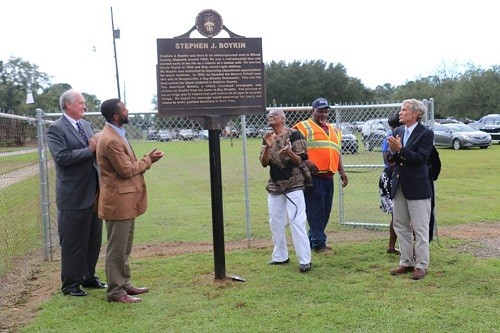 Unveiling the Stephen J. Boykin historic marker at the Douglasville High School Heritage Museum in Bay Minette, from left, Bay Minette Mayor Bob Wills, Shawn Graham with Hope Community, Boykin's grandson Al Boykin, and Sam Crosby.
