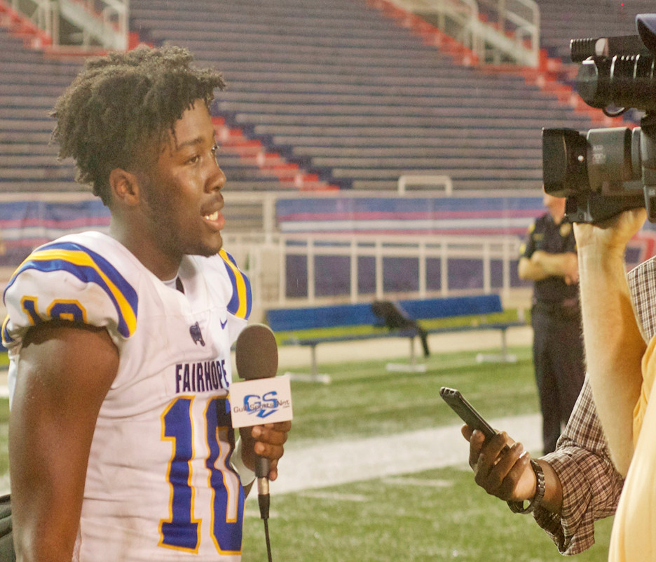 Fairhope quarterback Devin Mitchell in post-game interview with GulfSportsNet.com.