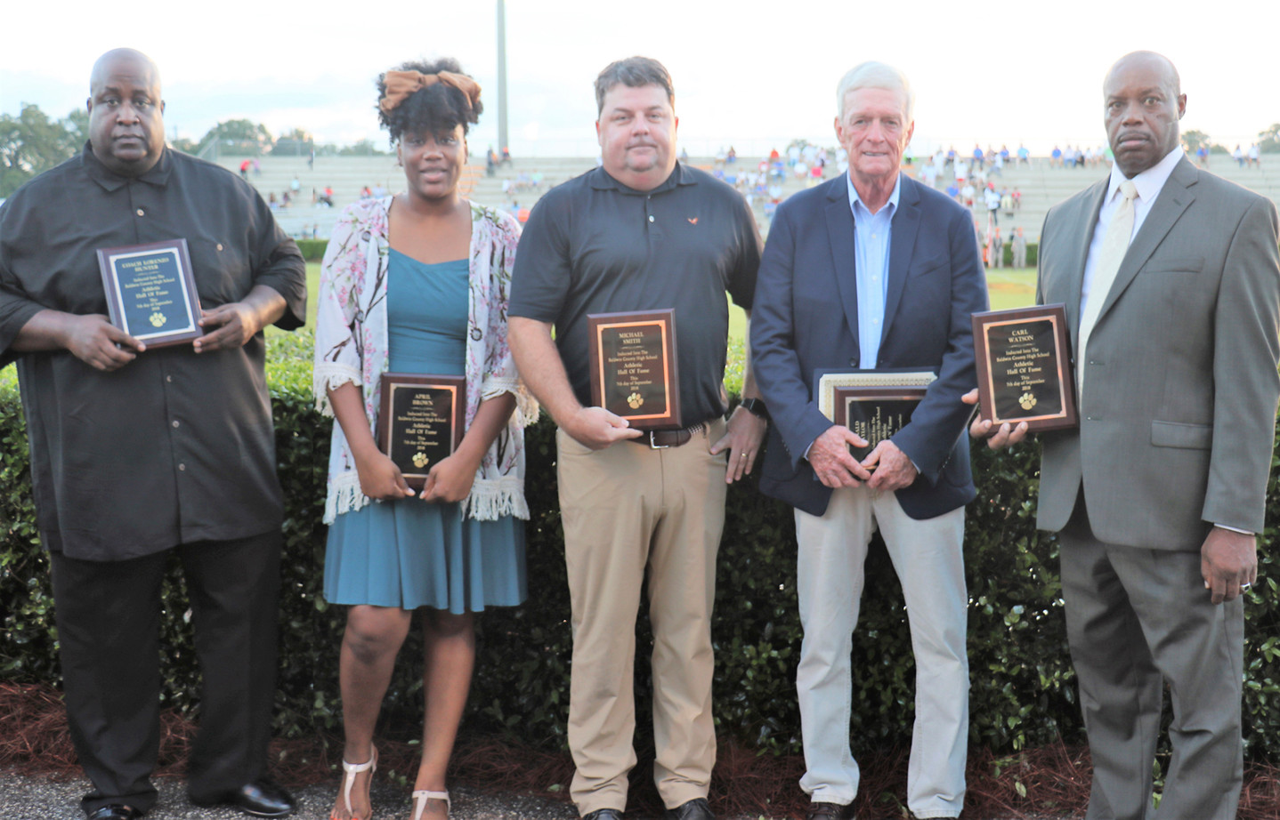 The newest members of the Baldwin County High School Athletic Hall of Fame include, from left, Coach Lorenzo Hunter (Associate), April Brown (2002), Michael Smith (1996), Donald Taylor (1968); Carl Watson (1974); and, not pictured, Kelly Godbey Morris (1999).