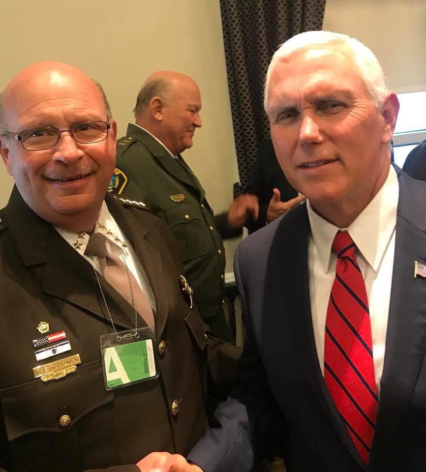 Baldwin County Sheriff Hoss Mack poses for a photo with Vice President Mike Pence during a recent visit to Washington DC to speak with federal officials about illegal immigration and border control issues.