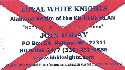 Pictured here are several examples of the fliers and business cards advertising the Ku Klux Klan that have emerged recently in several Silverhill businesses.