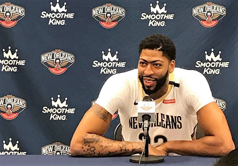 21b16f38aa3 NBA All-Star Anthony Davis at Pelicans Media Day