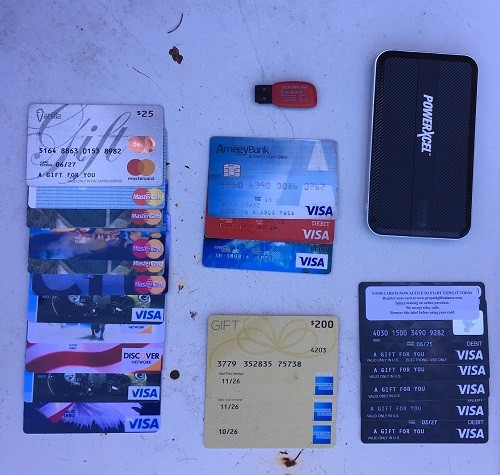 Credit/debit cards seized during a routing traffic stop on Interstate 65 on Tuesday.