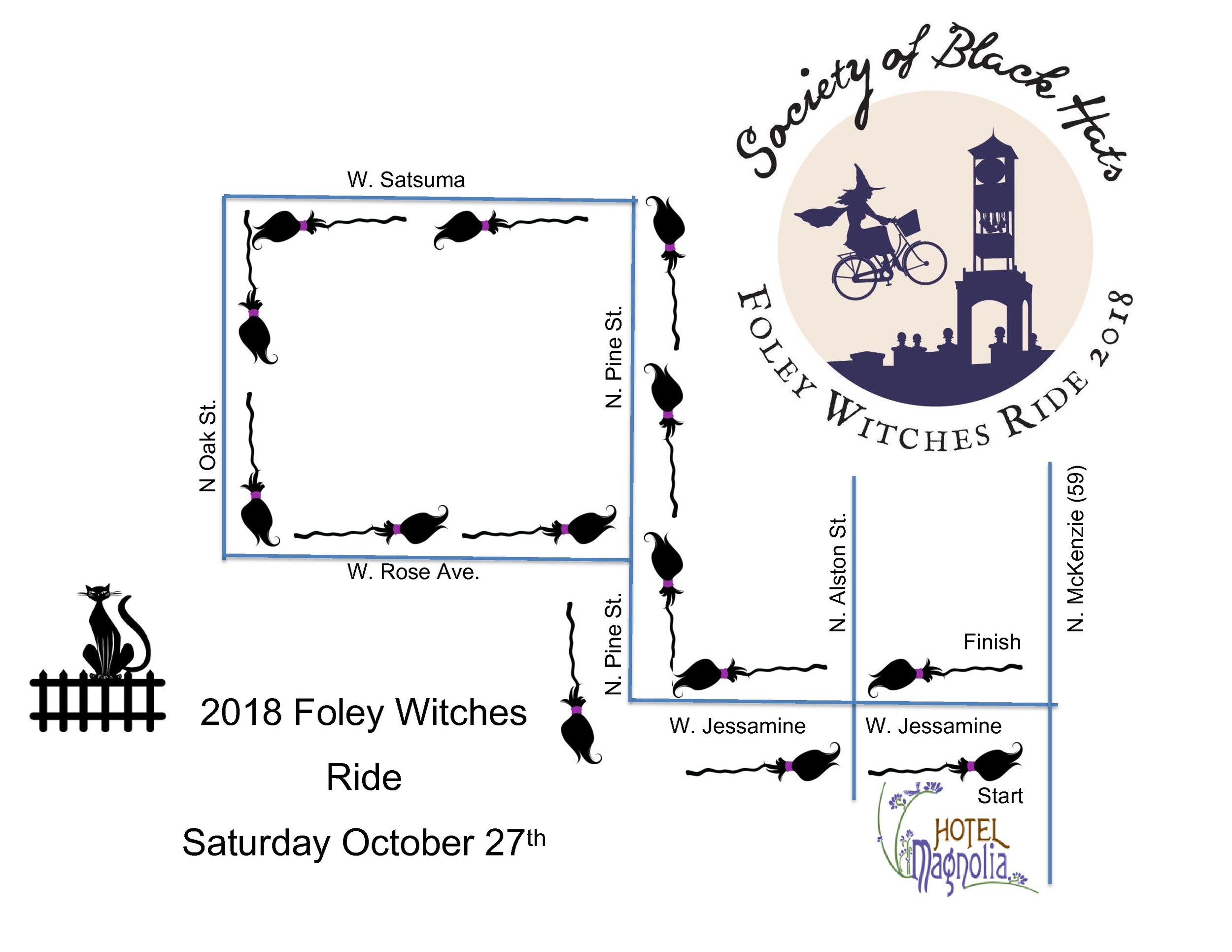 Foley Witches Ride Route Map