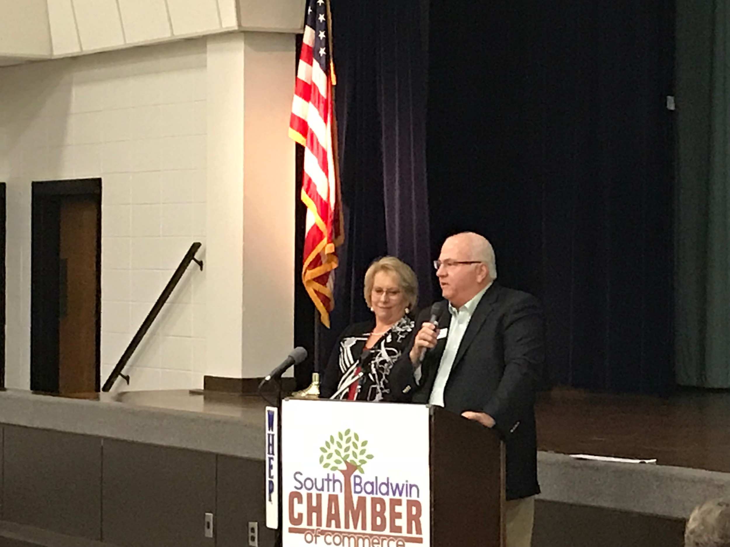 President and CEO of South Baldwin Chamber Donna Watts & CEO of Vulkan/Chairman of Gateway Initiative Tommy Lee.