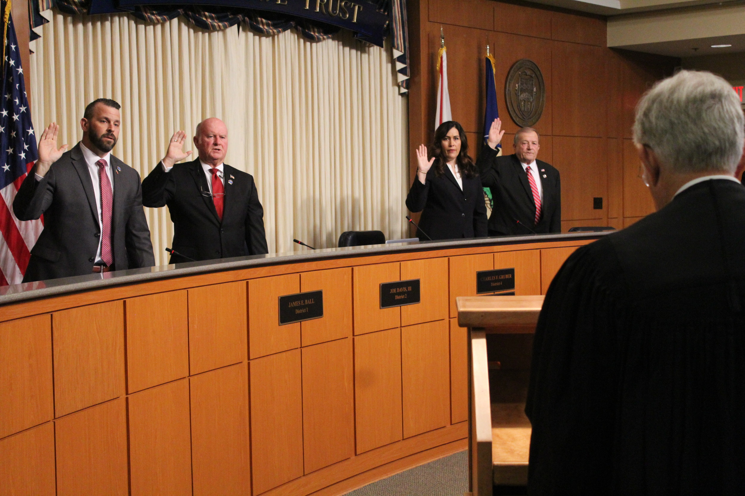 Baldwin County's new county commissioners were sworn in Wednesday morning at a special called meeting in commission chambers in Bay Minette.