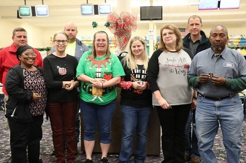 Employee Service Pins were presented to, in no order, Noreen Perez, Stephanie Sullivan and Lana Palmer, 5 years; Jonathan Hall, Rob Taylor, Victoria Barnett and David A. Johnson, 10 years; Steven Stewart, Greg Reynolds and Kimberly Watson, 15 years; and Rita Diedtrich, 20 years.