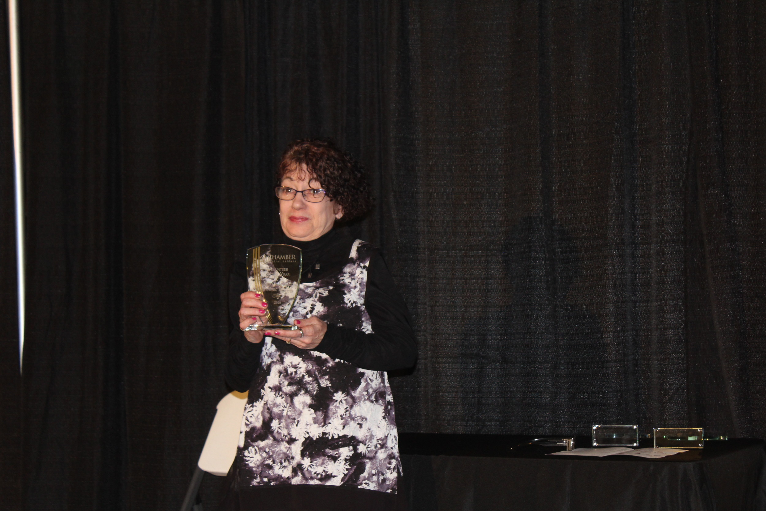 The Chamber Volunteer of the Year Award went to Diane Vogel, who has been a member of the Chamber for over ten years, served on the committee, heads the communications committee, and upkeeps the Chamber's website.