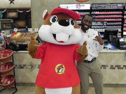 Bucky the Beaver graces packaging on a wide variety of items at Buc-ee's and was available to greet guests on Friday.