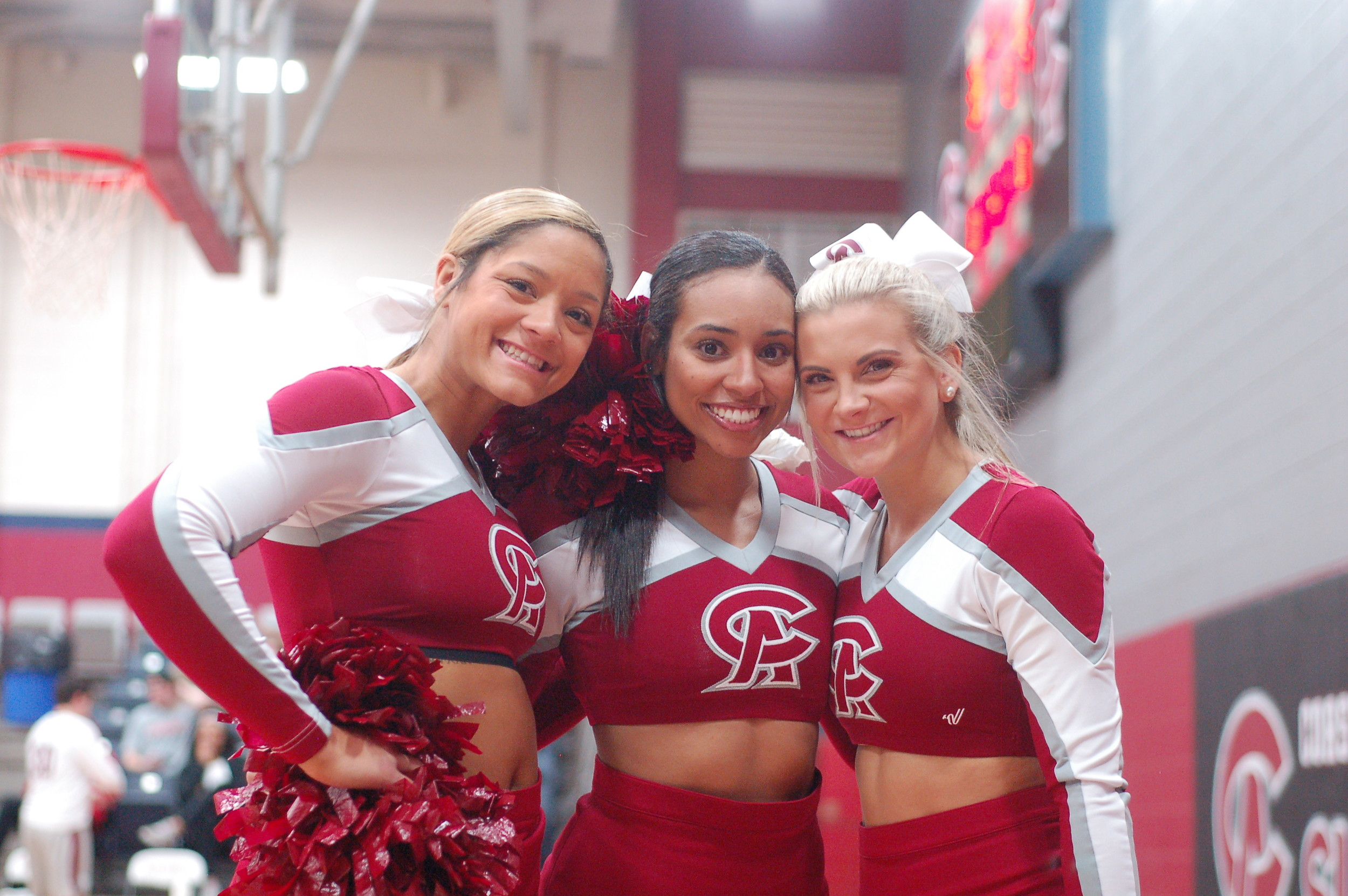 Cheers - Coastal Alabama-South Sun Chief cheerleaders from left Halley Hammonds, Lexi Conner and Emily Payne and their teammates keep the crowd in the game at Jack Robertson Arena.