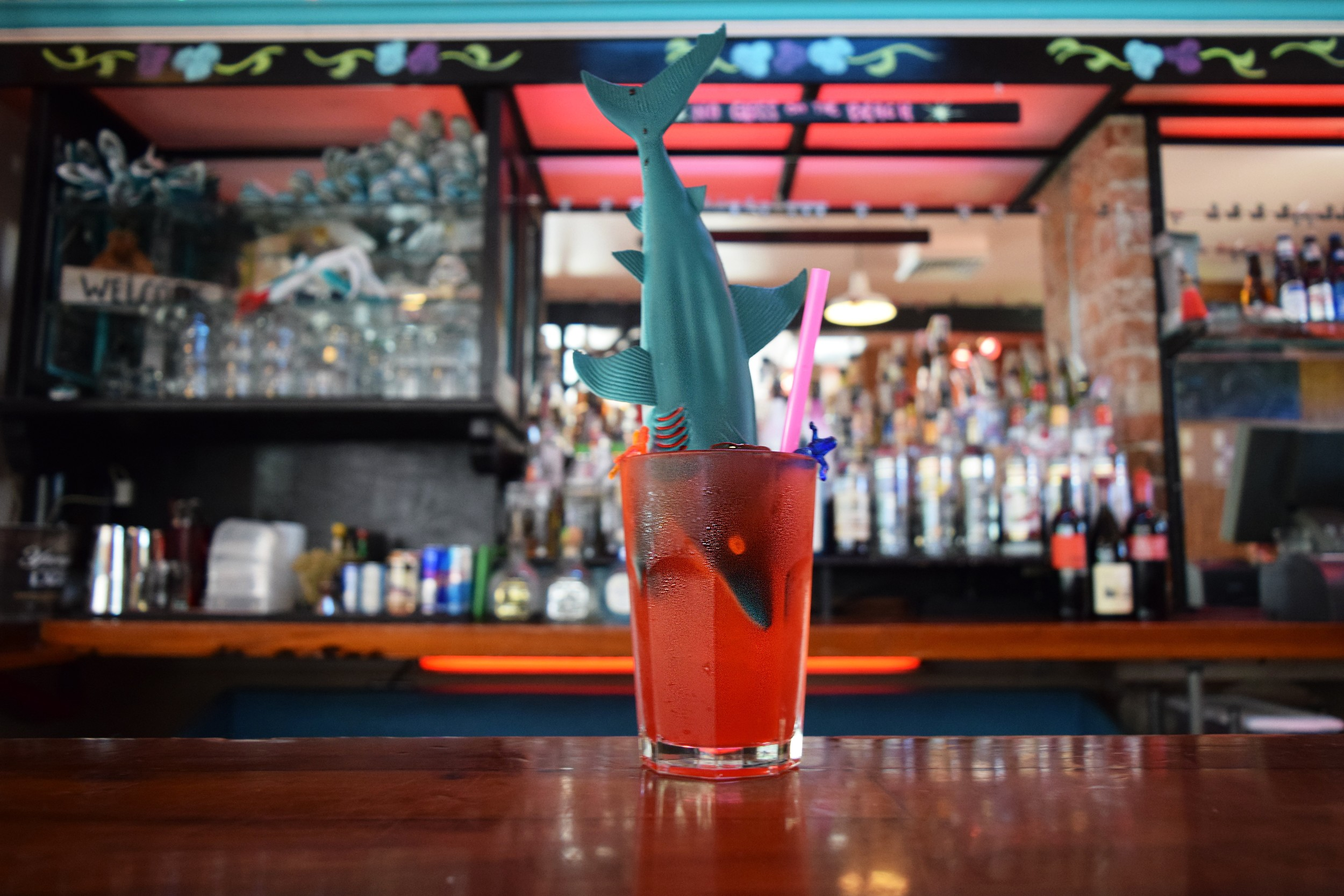The Shark Attack, a specialty drink offered at Lucy's.