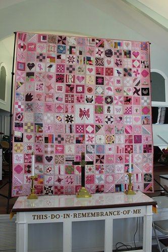 This pink quilt brought for display by the Pensacola Quilting Group.
