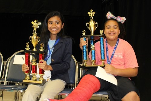 2019 Baldwin County Spelling Bee Champion Jessi Dade, right, and runner-up Nuha Ahmad of J. Larry Newton School.