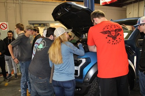 Students with the South Baldwin Center for Technology check out a brand new Ford truck from Moyer Ford in Foley.