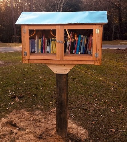 Silverhill's Little Free Library is stocked an open for business.