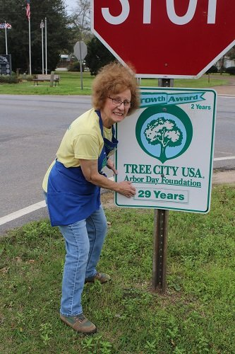Silverhill Tree Committee Chairman Carolyn Koch puts up the emblem at town hall designating Silverhill's 29th year as a Tree City.