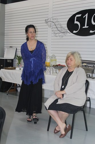Julie Nise, owner of Robertsdale Hypnosis for Weight Loss, gave a talk and demonstration Thursday, April 4 with the Central Baldwin Chamber of Commerce at the 519 Event Center at L.A. Barbecue in Summerdale.