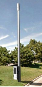Examples of stand-alone small cell towers and a facility put on top of a street light.