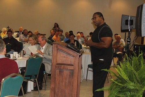 Evangelist R.V. Brown addresses guests at the 15th annual Central Baldwin Chamber of Commerce Prayer Breakfast held during the National Day of Prayer Thursday, May 2 at Baldwin EMC.