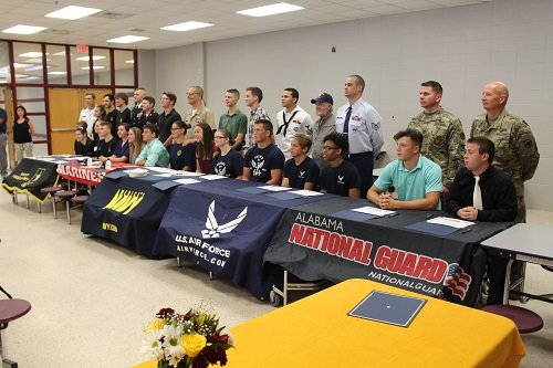 Students gathered with their families, school and community leaders and faculty at Robertsdale High School for a military signing day on Thursday, May 9.