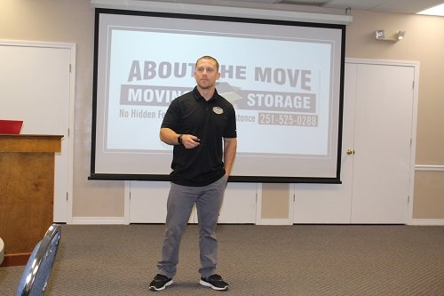 Group member Josh Williams of About the Move gives a 10-minute presentation on the advantages of using a professional move at the Tuesday, May 14 meeting of the Central Baldwin Networking Group.