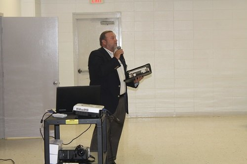 Baldwin County Coroner Dr. Brian Pierce presented a program on the effects of distracted driving.