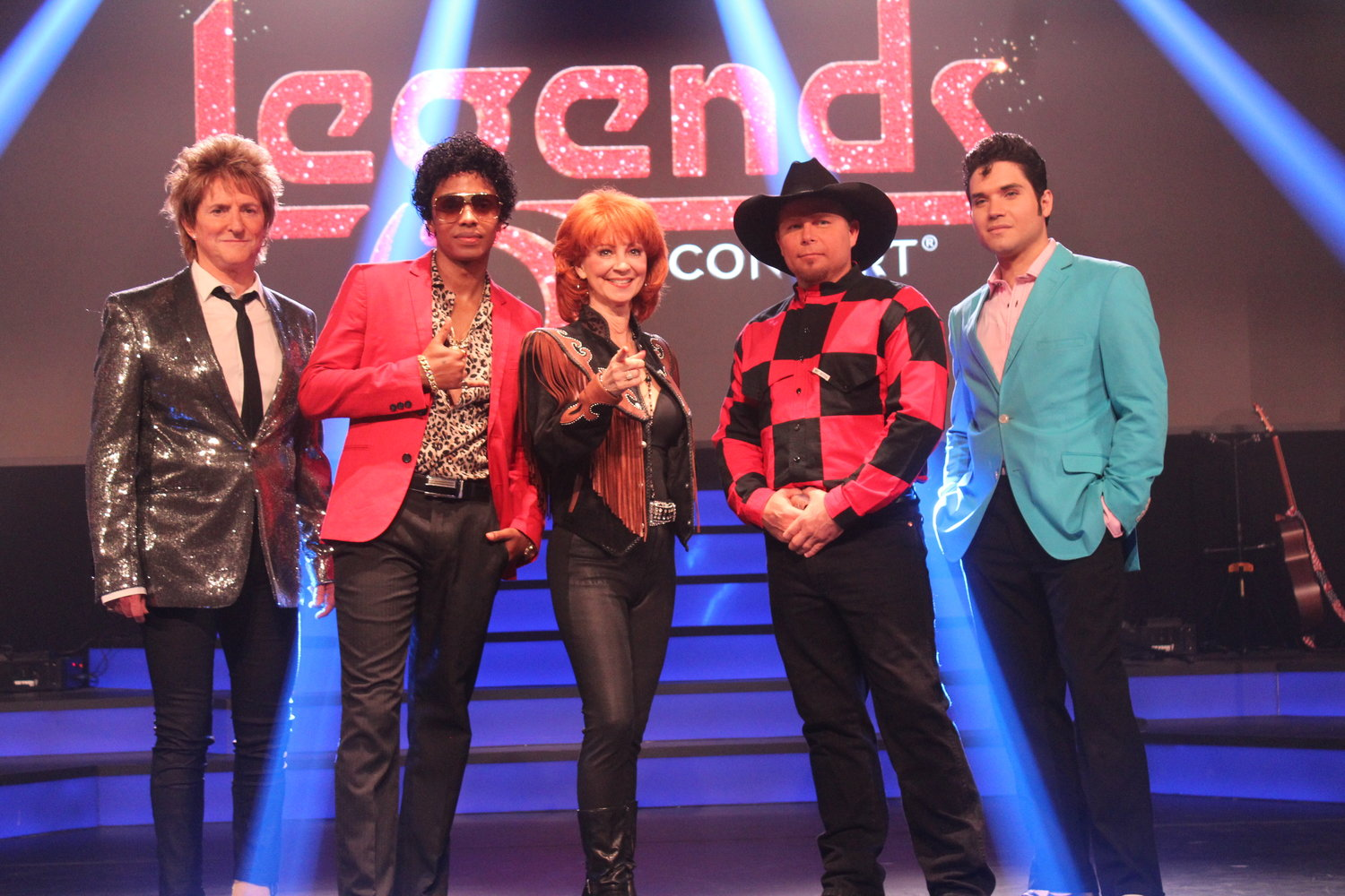The opening tribute artists for OWA's Legends in Concert are Rob Caudill (Rod Stewart), Isaiah (Bruno Mars), Corrie Sachs (Reba), Shawn Gerhard (Garth Brooks), and Victor Trevino, Jr (Elvis).