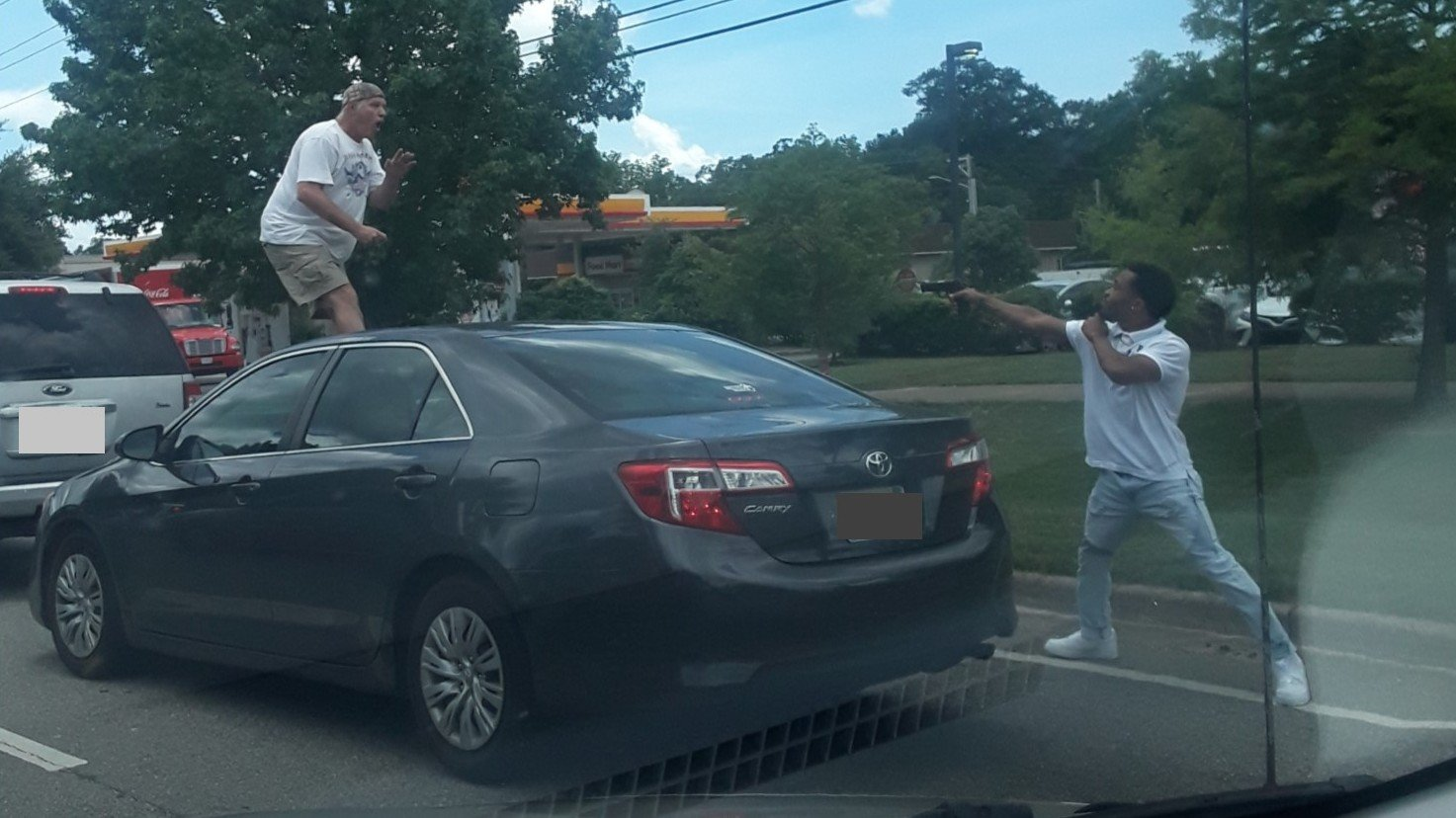 A passerby caught this photo of the scene between Mayo and another driver on 98 in Fairhope yesterday.