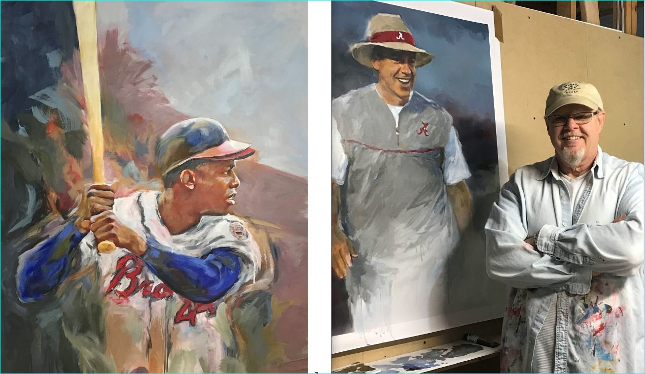 """Hammering Hank"" (left) by United States Sports Academy 2019 Sport Artist of the Year Steven Lester (right) with Nick Saban image in the artist's Atlanta Studio."