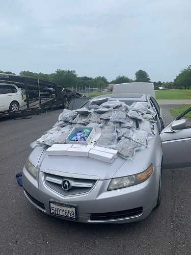 A car loaded with drugs was seized Tuesday during a routine traffic stop on Interstate 10.