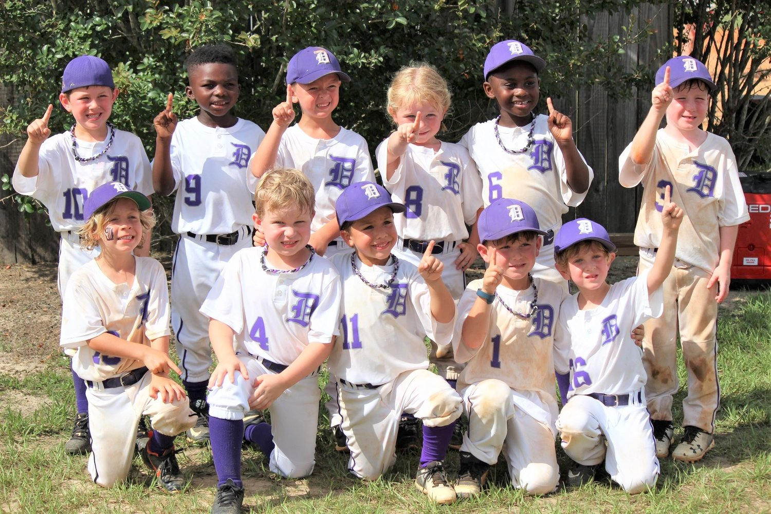 The Champs! The Daphne 5U state-champion, all-stars bound for the Southwest Regionals are, from left: Rear row: Hunter Neese, Major Walton, Knox Crum, Allie McKelroy, DJ Dailey, Trey Watz. Front row: Jack Morris, Brent Torries, Lucas Wojciechowski, Truett Steed and Franklin King. The coaches are Kenny Steed, TJ Morris, Ben Watz, and Matt Wojciechowski.