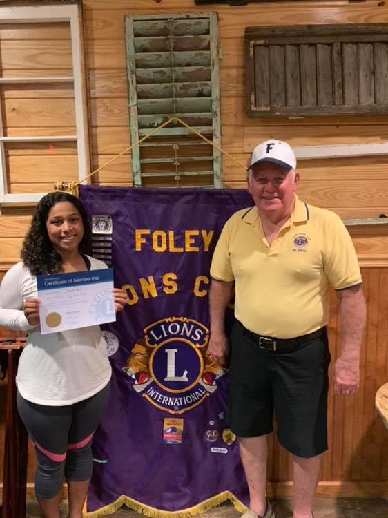 New Foley Lion Samantha Havel and Foley Lion Treasurer and Past President Rick Blackwell.